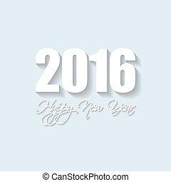 vetorial, modernos, simples, feliz ano novo, cartão, 2016