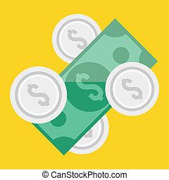 vetorial, moedas, conta, dólar, ícone