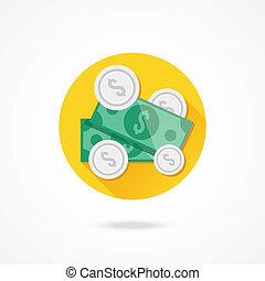 vetorial, moedas, dólar cobra, ícone