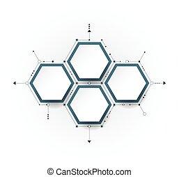 vetorial, molécula, com, 3d, papel, etiqueta, integrada,...