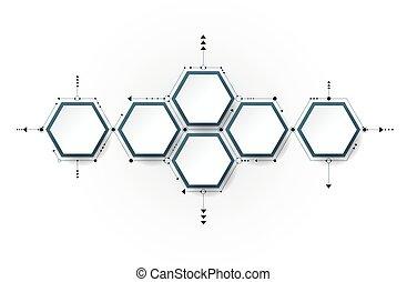 vetorial, molécula, papel, etiqueta, fundo, hexágono, integrada, 3d