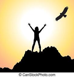 vetorial, montanha, menina, pássaro voador
