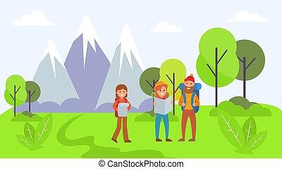 vetorial, montanha, natural, viajante, apartamento, viagem, nacional, descanso, personagem, atividade, recreation., floresta, parque, illustration., ao ar livre