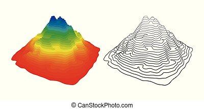 vetorial, montanha, topografia, ilustração