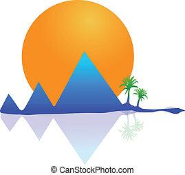 vetorial, montanhas, sol, e, palmas, logotipo