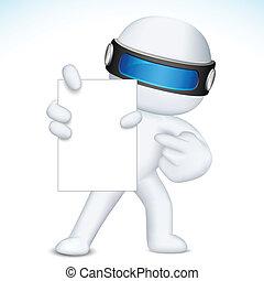 vetorial, mostrando, cartão, em branco, 3d, negócio, nan
