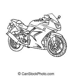 vetorial, motobike., caricatura