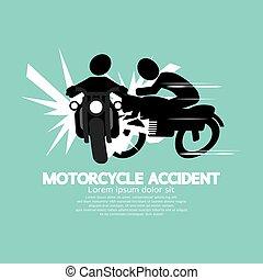 vetorial, motocicleta, ilustração, acidente