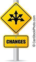 vetorial, mudanças, à frente, sinal estrada