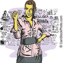 vetorial, mulher, algo, negócio, escrita