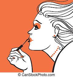 vetorial, mulher, aplicando, ilustração, maquiagem