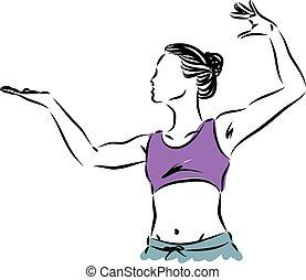 vetorial, mulher, ilustração, condicão física