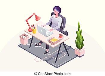 vetorial, mulher, ilustração, escritório, local trabalho
