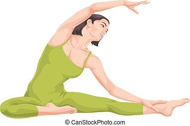 vetorial, mulher, ioga, pose.