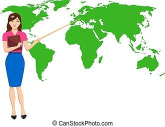 vetorial, mulher, meteorologist, transmissão, ligado, tv