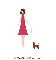 vetorial, mulher, modernos, ilustração