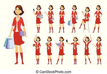 vetorial, mulher, na moda, personagem, pessoas, -, jogo, caricatura