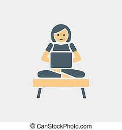 vetorial, mulher, personagem, laptop., trabalhando