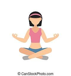 vetorial, mulher, prática, pose, yoga.