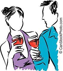 vetorial, mulher, vinho, ilustração, homem