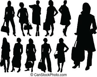 vetorial, -, mulheres negócio