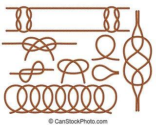 vetorial, náutico, rope., apartamento, jogo, knots., marrom