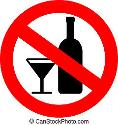 vetorial, não, álcool, sinal