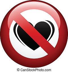 vetorial, não, amor, marca