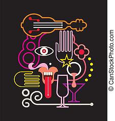 vetorial, néon, ilustração, rosto