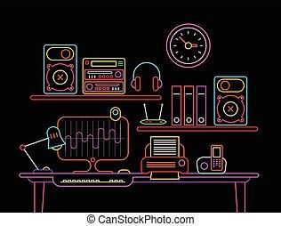 vetorial, néon, local trabalho, ilustração