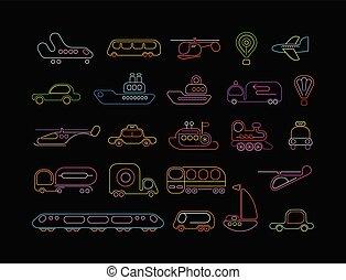 vetorial, néon, transporte, ícones