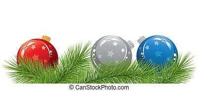 vetorial, natal, bolas, e, árvore abeto, ramos