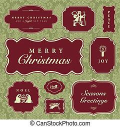 vetorial, natal, bordas, e, ornamentos