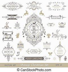 vetorial, natal, elementos, decoração, -, calligraphic, projeto fixo, vindima, bordas, página