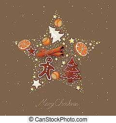 vetorial, natal, estrela