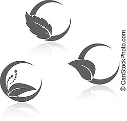 vetorial, natural, black-white, símbolos, com, folha