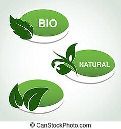 vetorial, natural, símbolos, -, adesivos, com, folha, planta