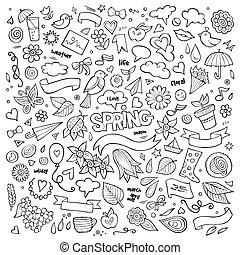 vetorial, natureza, primavera, mão, símbolos, objetos, ...