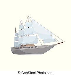 vetorial, navio, isolado