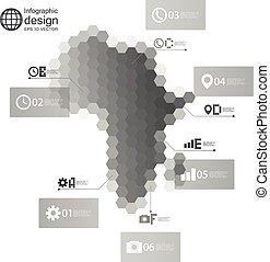 vetorial, negócio, áfrica, mapa, infographic, desenho, ilustração, modelo, hexagonal, desenho
