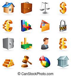vetorial, negócio, icons.