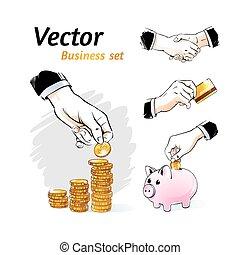 vetorial, negócio, set.