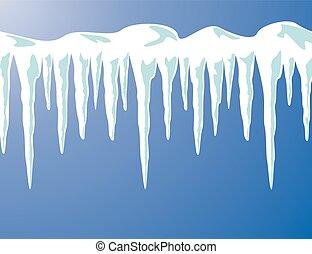 vetorial, neve, fundo, icicles