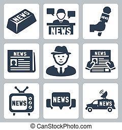 vetorial, notícia, e, jornalismo, ícones, jogo