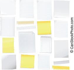 vetorial, nota papel, e, correspondência-isto