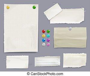 vetorial, notas, ilustração, papel, alfinetes, mensagem