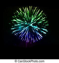 vetorial, noturna, fogos artifício, sky.