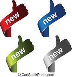 vetorial, novo, etiquetas, com, gesto, mão, -, sinal,...