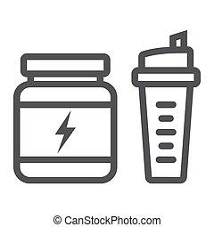 vetorial, nutrição, shaker, whey, 10., linear, padrão, linha, eps, esportes, desporto, gráficos, fundo, condicão física, ícone, proteína, sinal, branca