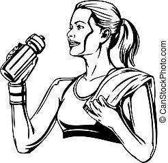 vetorial, nutrition., esportes, -, bebendo, illustration., mulher, shaker